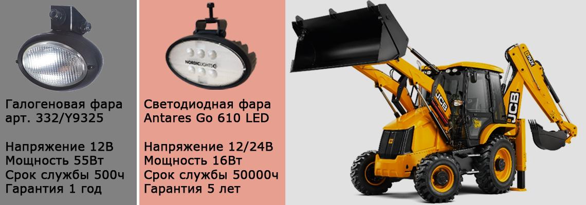 Светодиодные фары для экскаваторов-погрузчиков JCB 3CX / 4CX