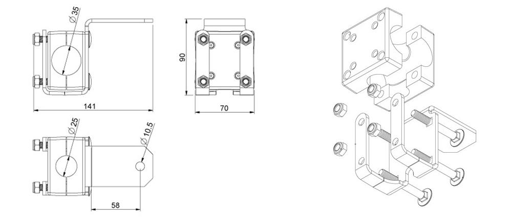 Кронштейн для установки фар на стойки и поручни спецтехники
